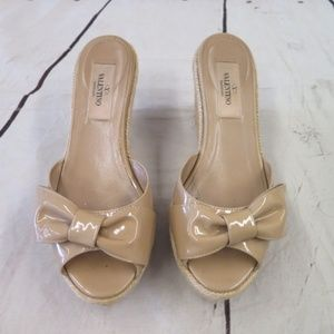 Valentino Bow Espadrille Wedge Sandal Nude Patent